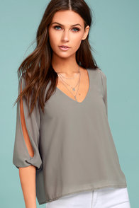 Daily Romance Grey Long Sleeve Top