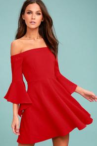 J.O.A. Mikkaa Red Off-the-Shoulder Skater Dress