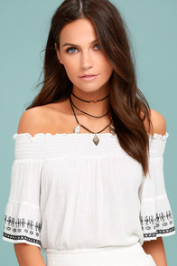 Lost + Wander El Sol White Embroidered Off-the-Shoulder Top