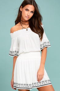 Lost + Wander El Sol White Embroidered Skater Skirt