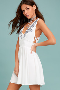 Parkside White Embroidered Skater Dress