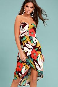 ASTR the Label Josefina Plum Purple Print Strapless Dress