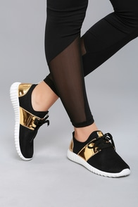 Lena Black Knit Sneakers