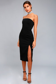 Finders Keepers Lucie Black Strapless Midi Dress