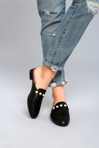 Zinnia Black Pearl Loafer Slides