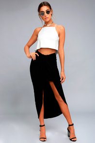 Scenic Drive Black Wrap Maxi Skirt