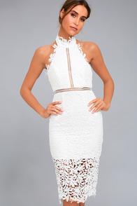 Divine Destiny White Lace Midi Dress
