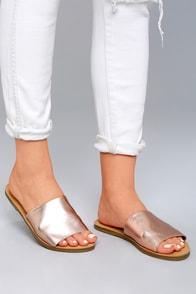 Steve Madden Grace Rose Gold Leather Slide Sandals