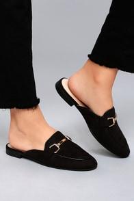 Eliza Black Suede Loafer Slides
