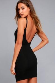 Get to Know Me Black Bodycon Dress