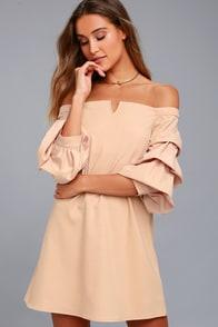 J.O.A. Kali Blush Pink Off-the-Shoulder Dress