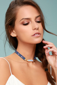 Vibrant Aura Blue Embroidered Choker