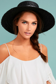 Paisley Baby Black Straw Hat