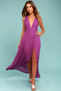 Passionate Embrace Magenta Halter Maxi Dress