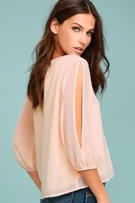 Daily Romance Peach Long Sleeve Top