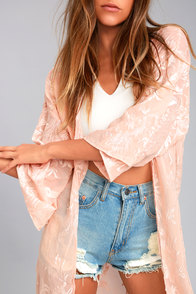 Peony Patch Light Peach Embroidered Kimono Top