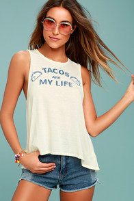 Chaser Taco Life Cream Tank Top