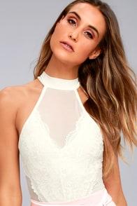 Not So Secret White Lace and Mesh Bodysuit