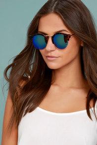 Sure Stunner Tortoise and Blue Mirrored Sunglasses