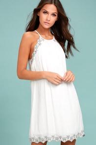 Despacito White Embroidered Shift Dress