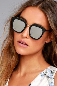 Revelry Black and Silver Mirrored Sunglasses