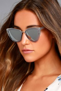 Soho Sun Grey and Silver Mirrored Sunglasses