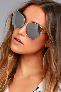 Queenie Silver and Grey Mirrored Sunglasses