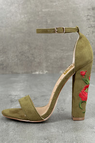 Adela Olive Suede Embroidered Ankle Strap Heels