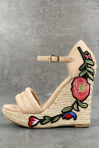 Nell Natural Suede Embroidered Platform Espadrille Wedges