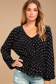 Billabong Play Day Black Print Long Sleeve Top