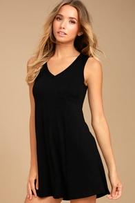 Casually Cool Black Swing Dress