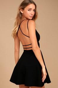 Believe in Love Black Backless Skater Dress