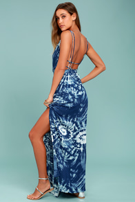 Live in Harmony Blue Tie-Dye Maxi Dress