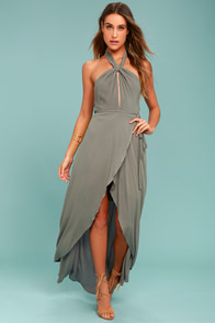 Marisha Washed Olive Green Halter Wrap Dress