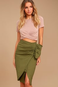 J.O.A. Wylie Olive Green Midi Skirt