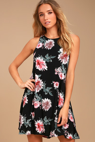 Walk This Sway Black Floral Print Swing Dress