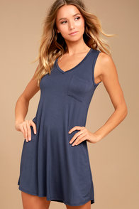 Casually Cool Washed Navy Blue Swing Dress