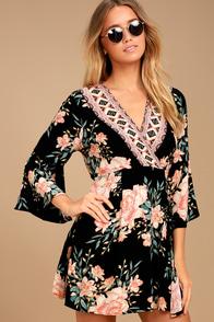 Billabong Divine Black Floral Print Wrap Dress