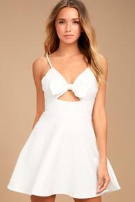 Better Bow-lieve It White Skater Dress