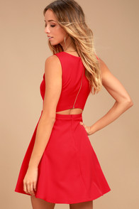Just Us Red Skater Dress