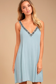 PPLA Xia Light Blue Beaded Swing Dress