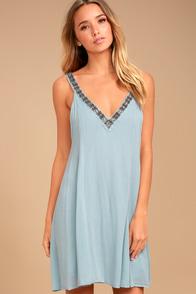 PPLA Xia Light Blue Beaded Swing Dress