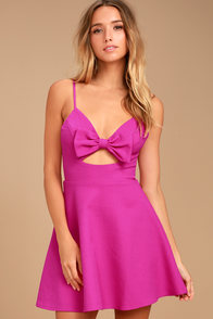 Better Bow-lieve It Magenta Skater Dress