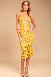 Dress the Population Marie Yellow Lace Midi Dress