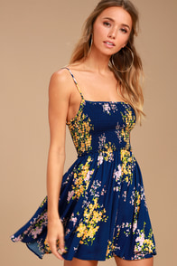 Fairytale Bliss Navy Blue Floral Print Skater Dress