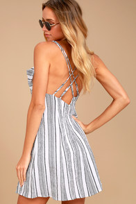 Apres Sea Black and White Striped Dress