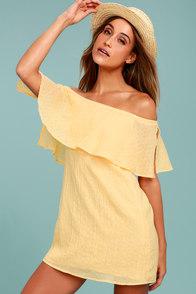 Hello Sunshine Yellow Off-the-Shoulder Dress