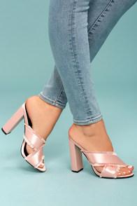 Taya Blush Satin High Heel Sandals