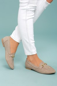 Molly Lynn Taupe Suede Loafers