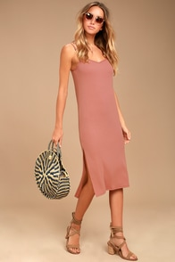 Billabong Great News Blush Pink Midi Dress